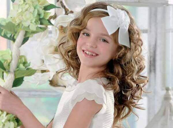hairstyles first communion curly headband