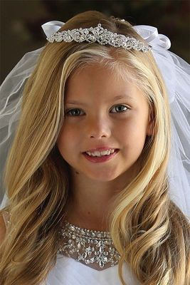 first communion hairstyles tiara loose hair