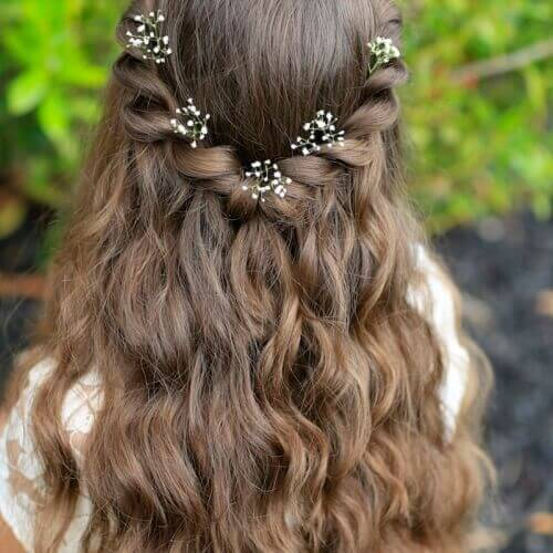 first communion hairstyles braids two ends