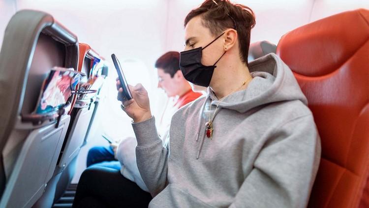wearing a plane mask