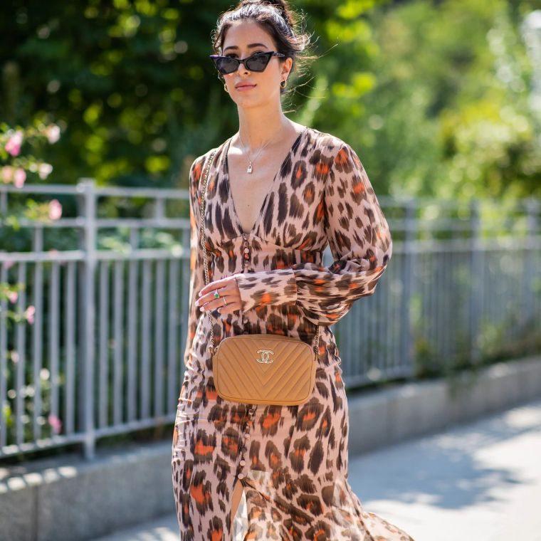 modern long dress with animal patterns