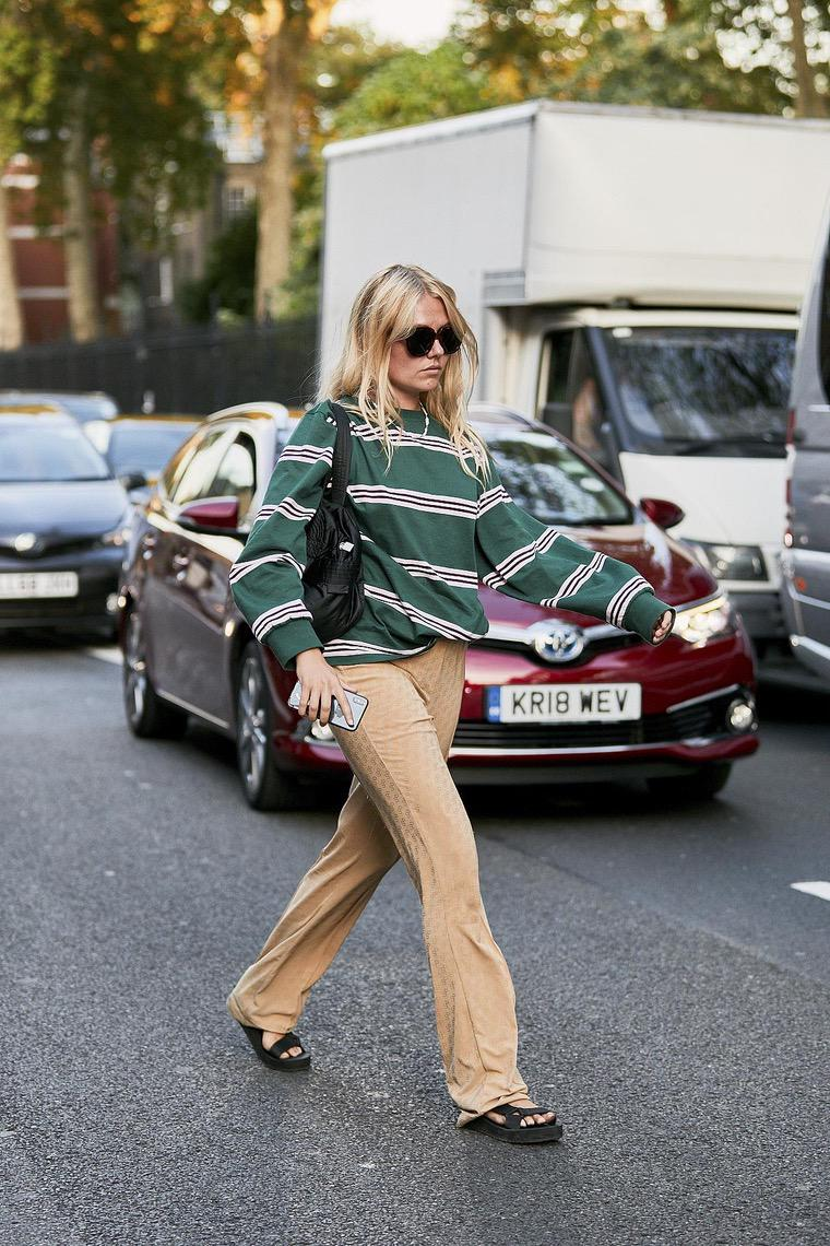 striped pants and blouse