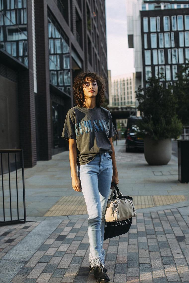 casual look with t-shirt and jeans
