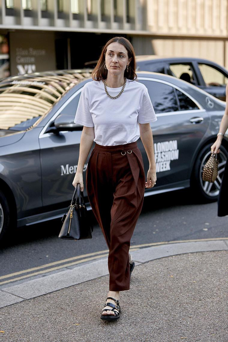 white t-shirt and cool pants