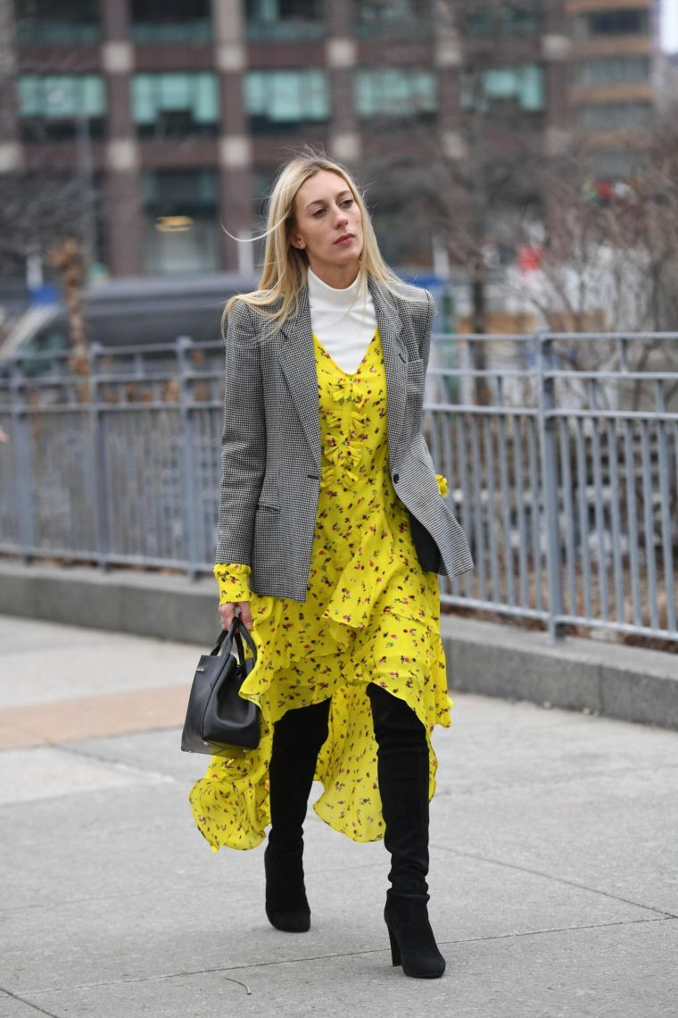 yellow dress with floral patterns