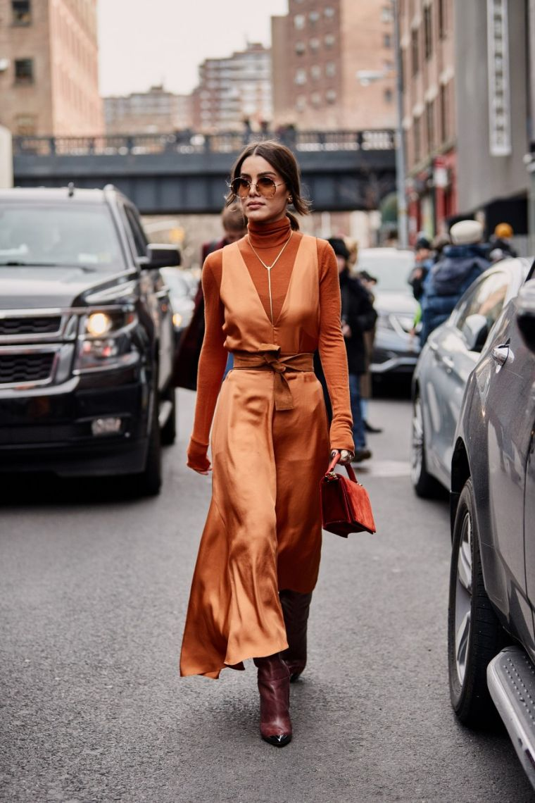 modern orange dress