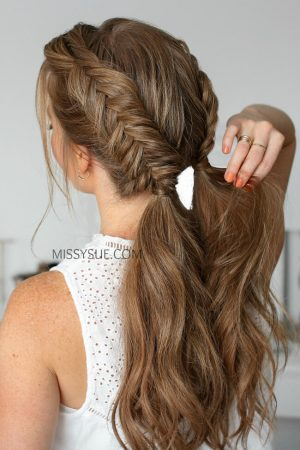 herringbone braid two pigtails