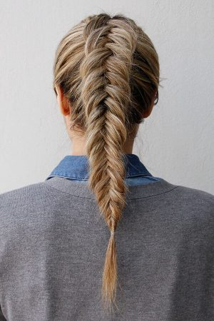 inverted short hair herringbone braid