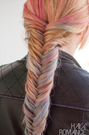herringbone braid colored tints