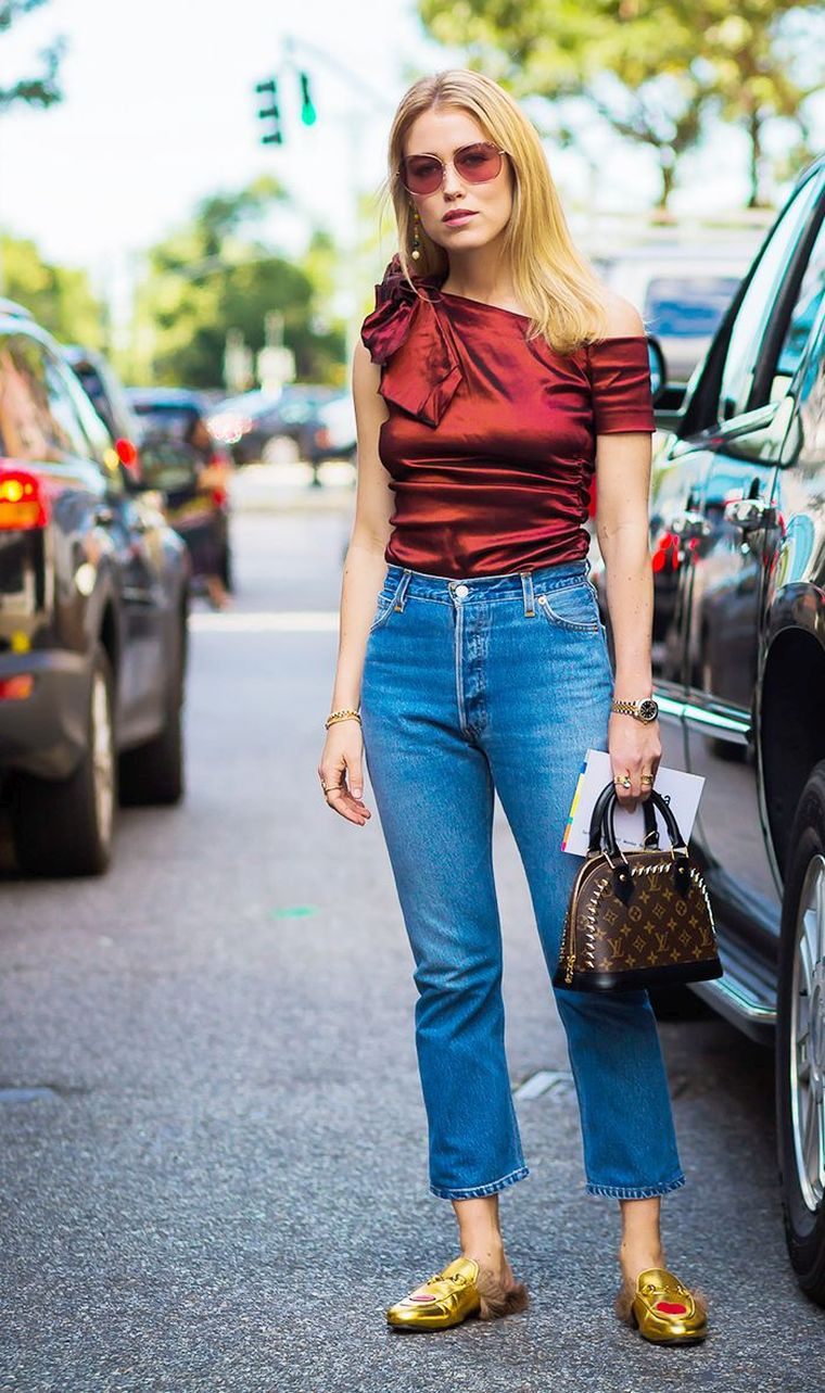 elegant blouse and jeans