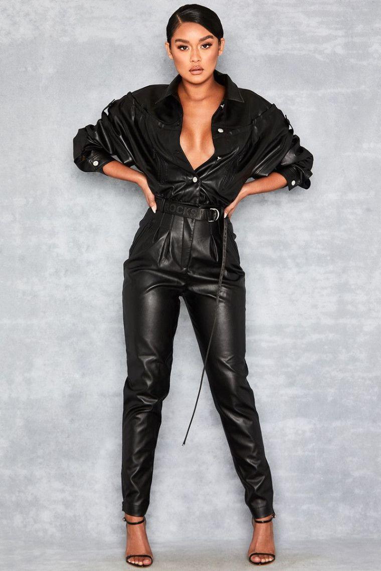 fashionable leather jumpsuit