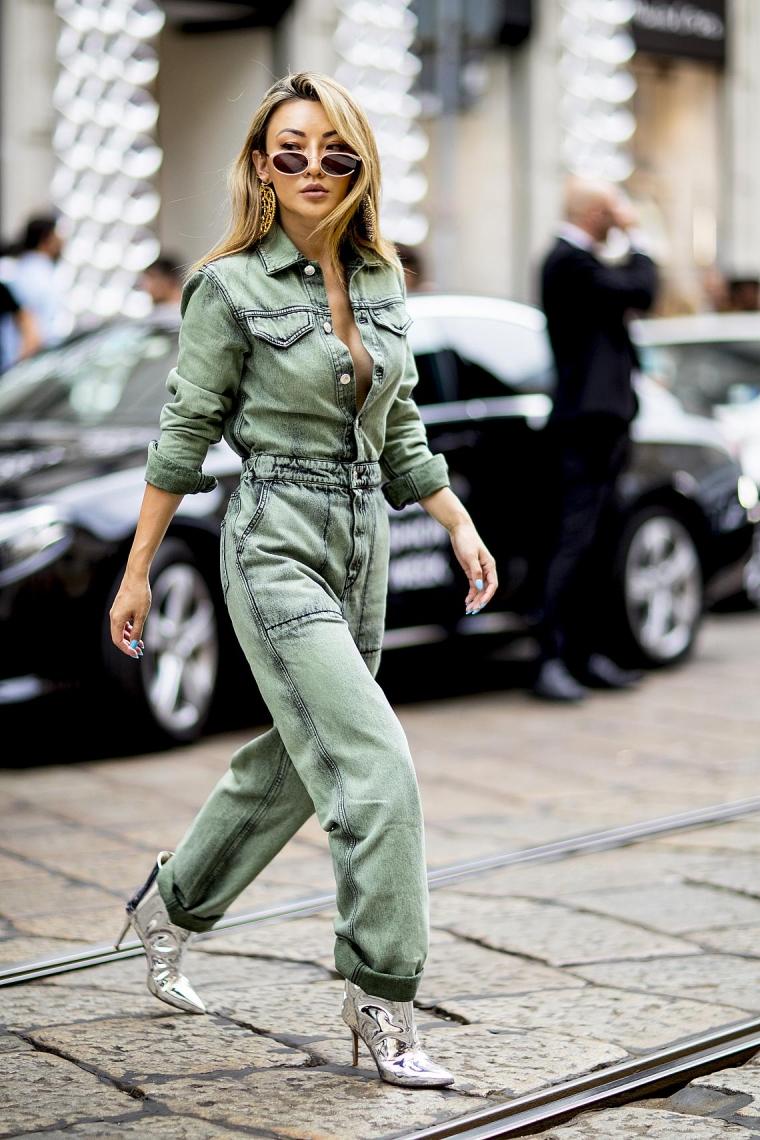 combinaison denim femme street style inspiration