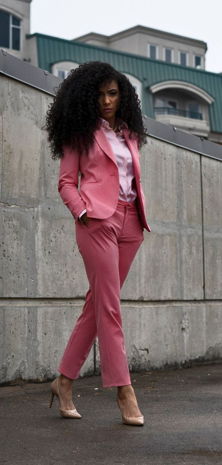 how to dress at work with a pink suit