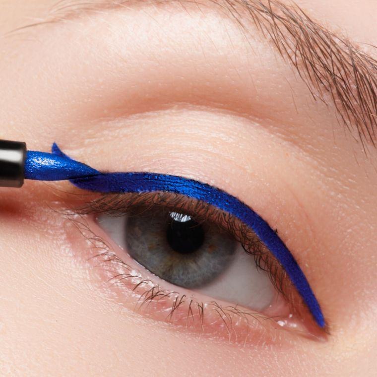 modern makeup with blue eyeliner
