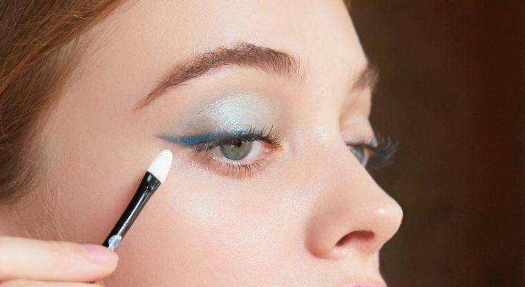 elegant makeup in light blue