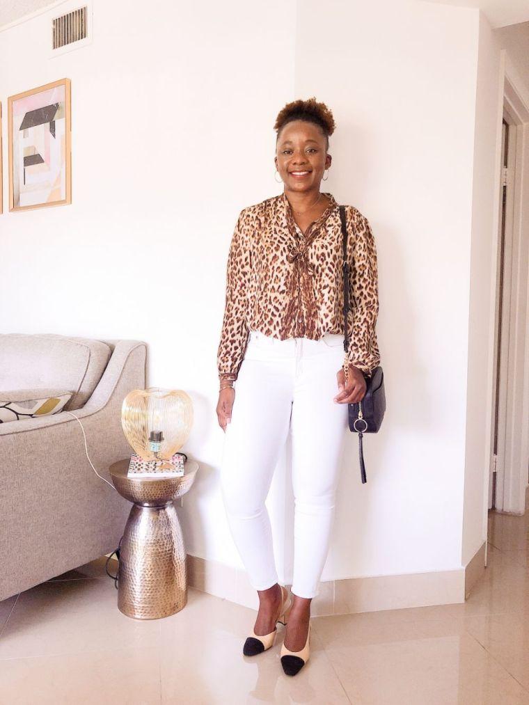 modern white jeans for work