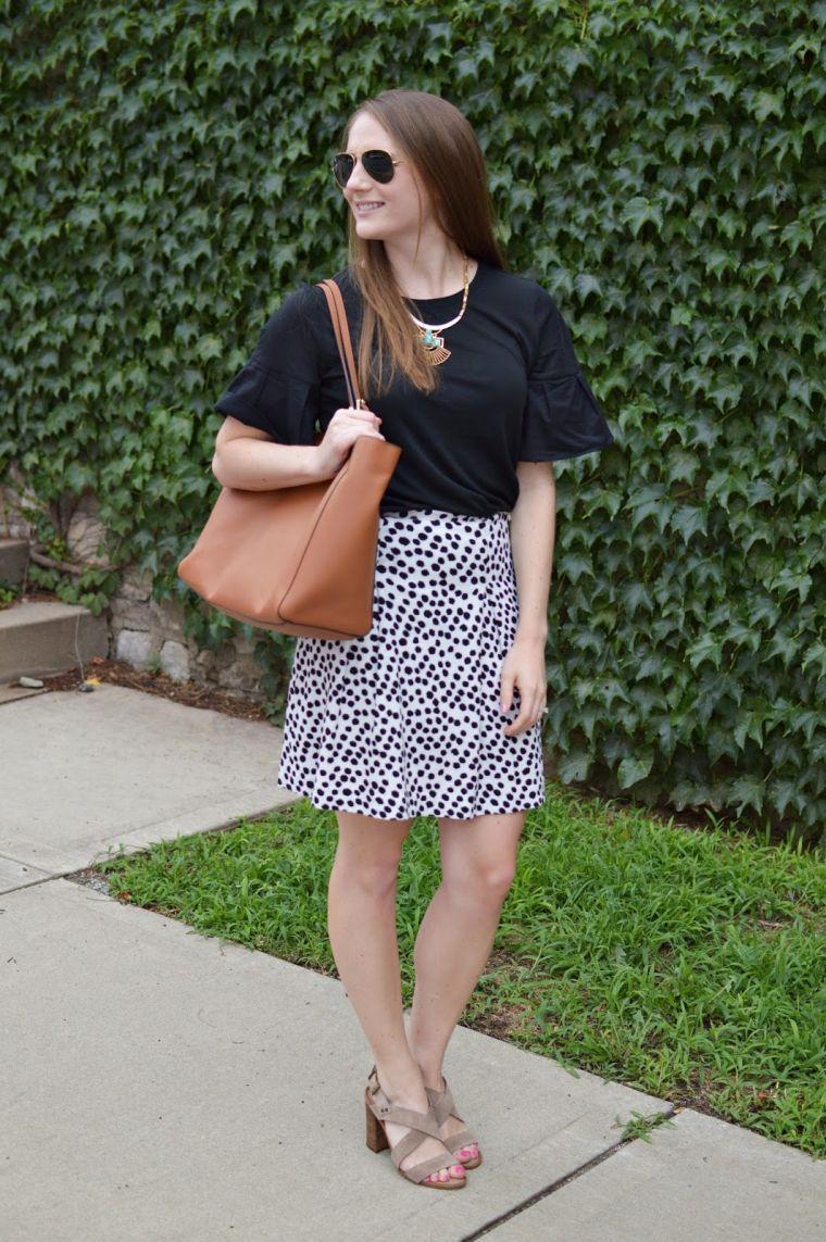 black and white skirt for work