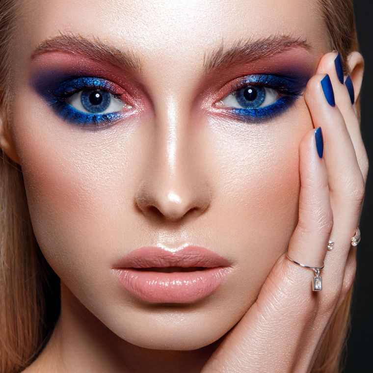 makeup with blue color