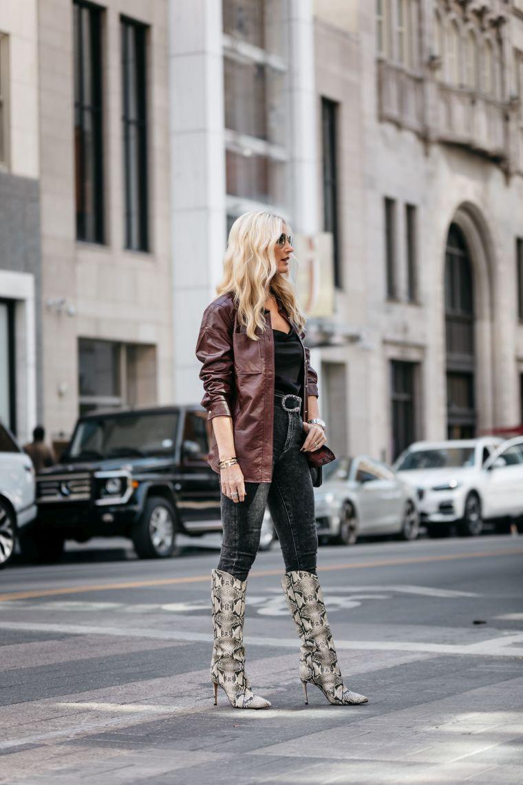 fashionable leather coat