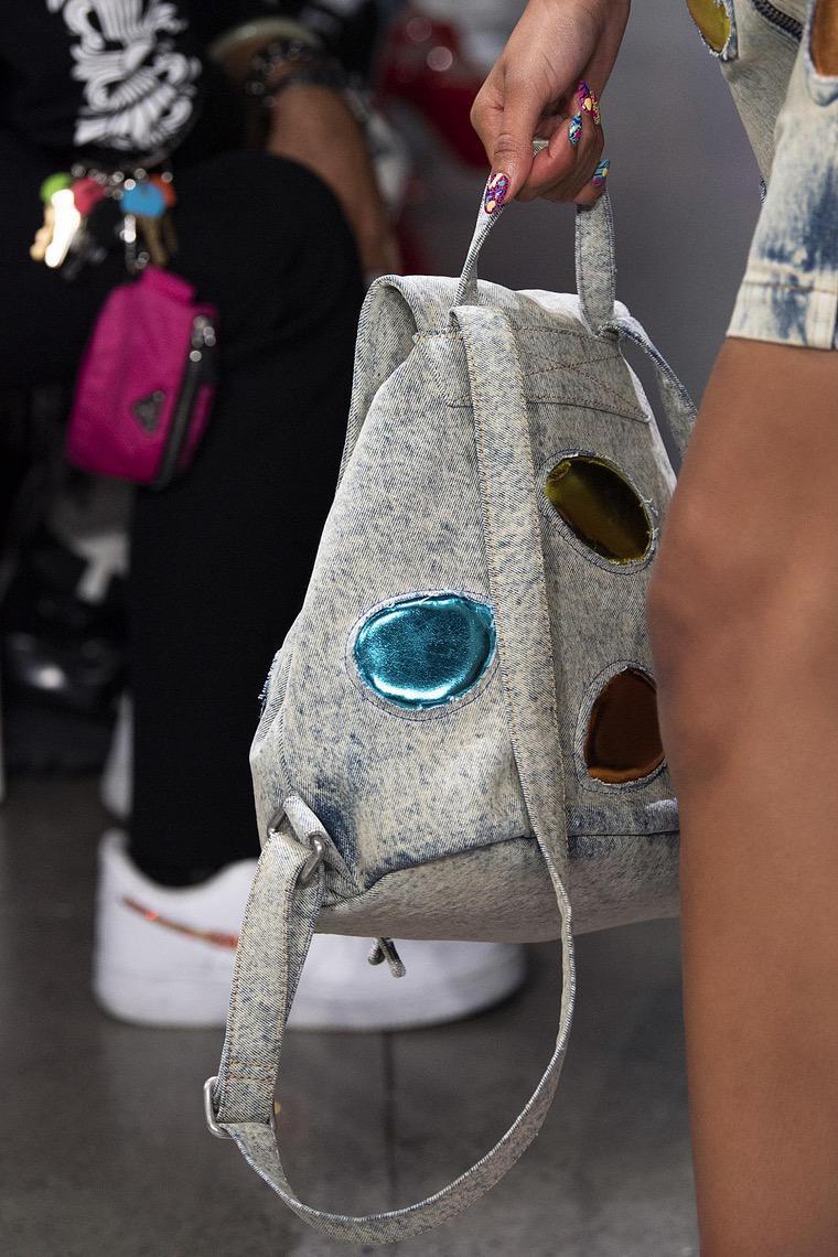 Jeremy Scott and a designer backpack
