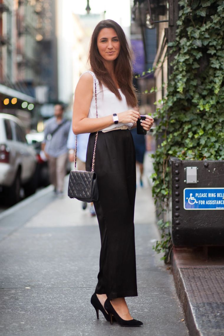 black pants with white shirt