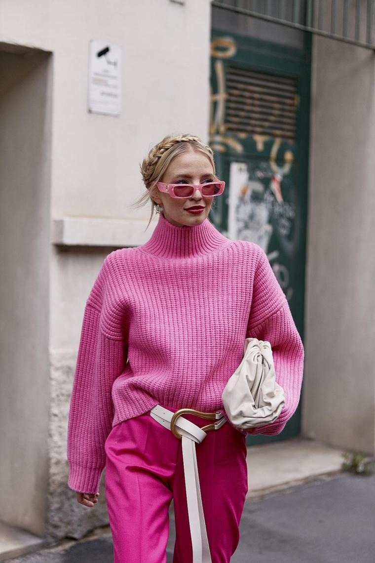 pull rose : tenue femme Milan