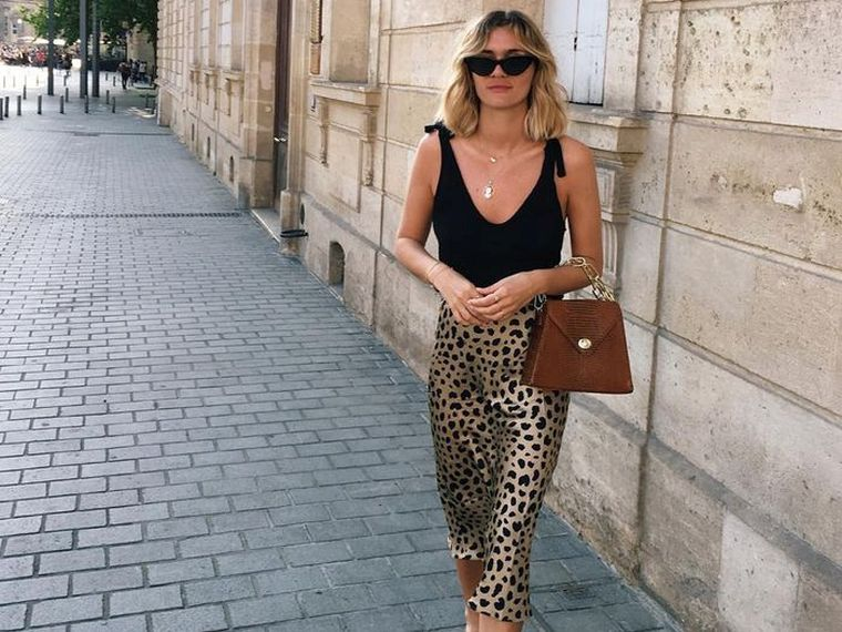elegant outfit with leopard skirt