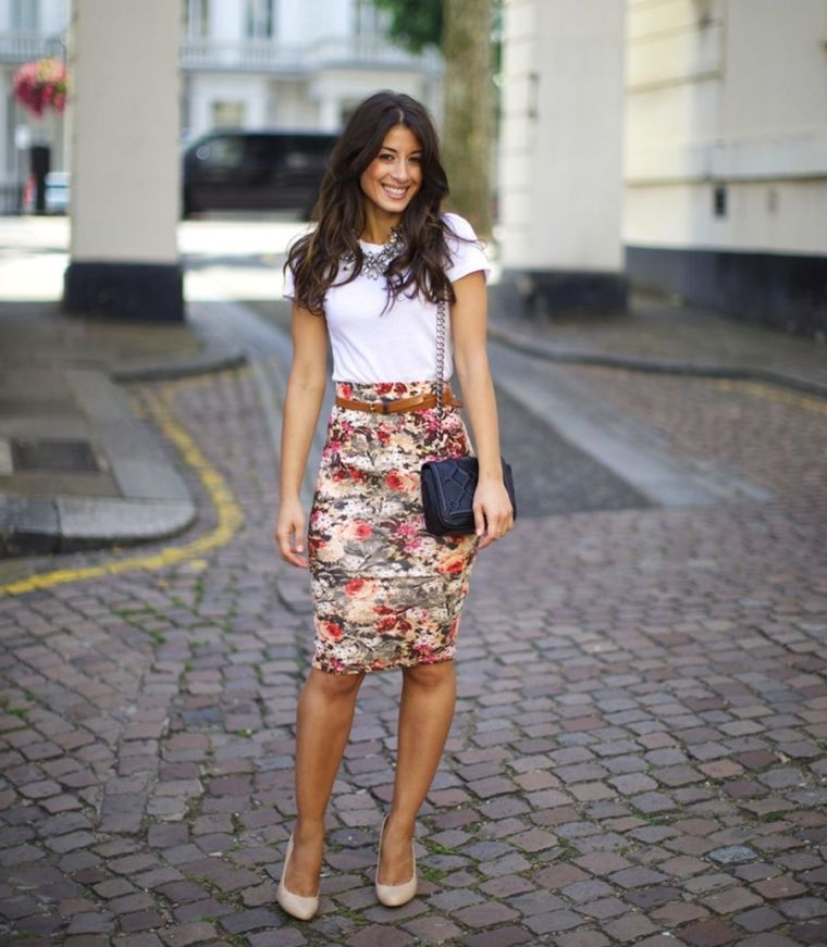 outfit with modern floral skirt