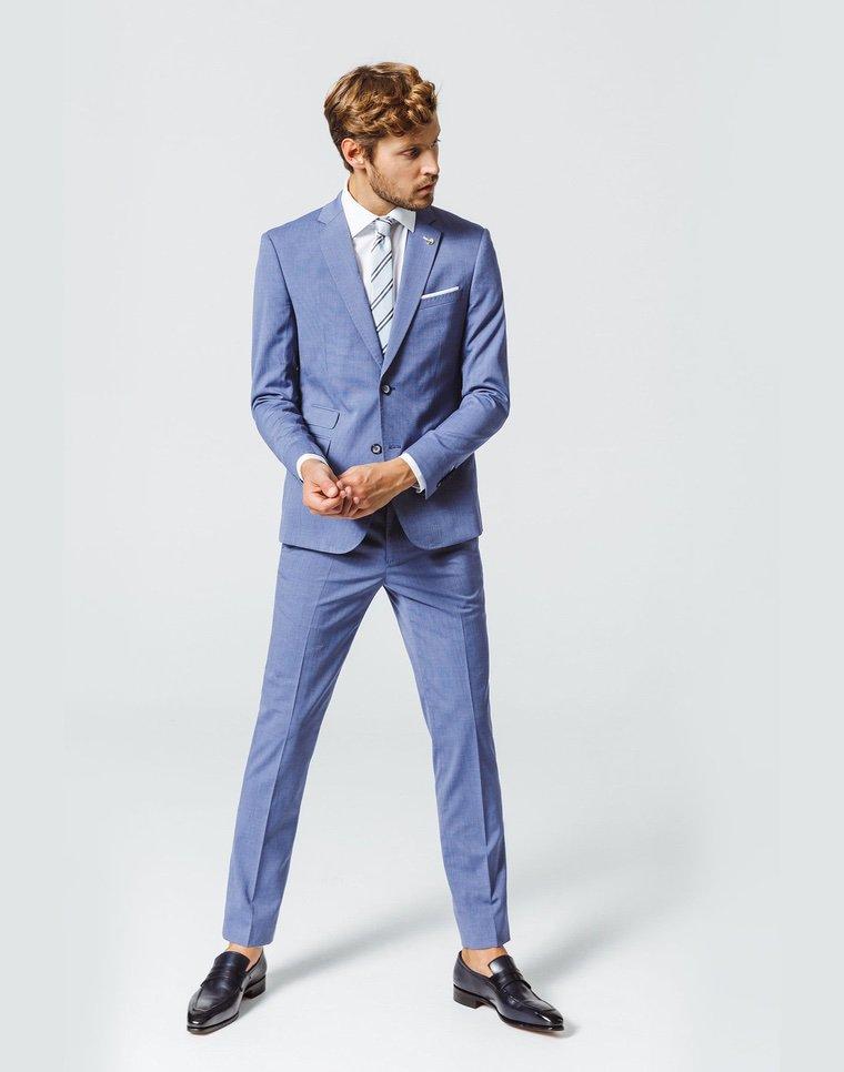 fashion style blue jacket and pants