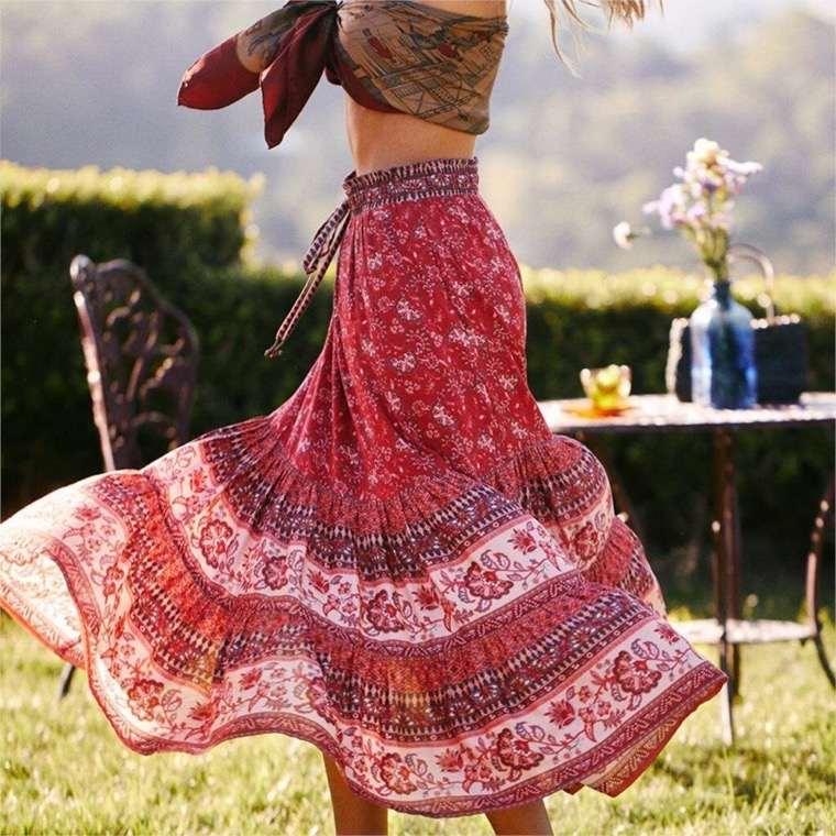 long bohemian chic skirt
