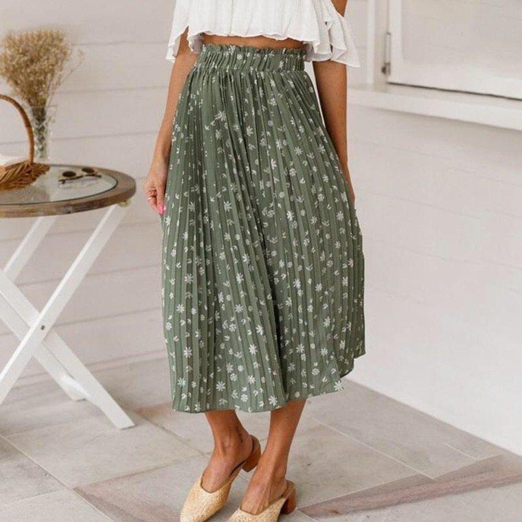 pleated green boho chic skirt