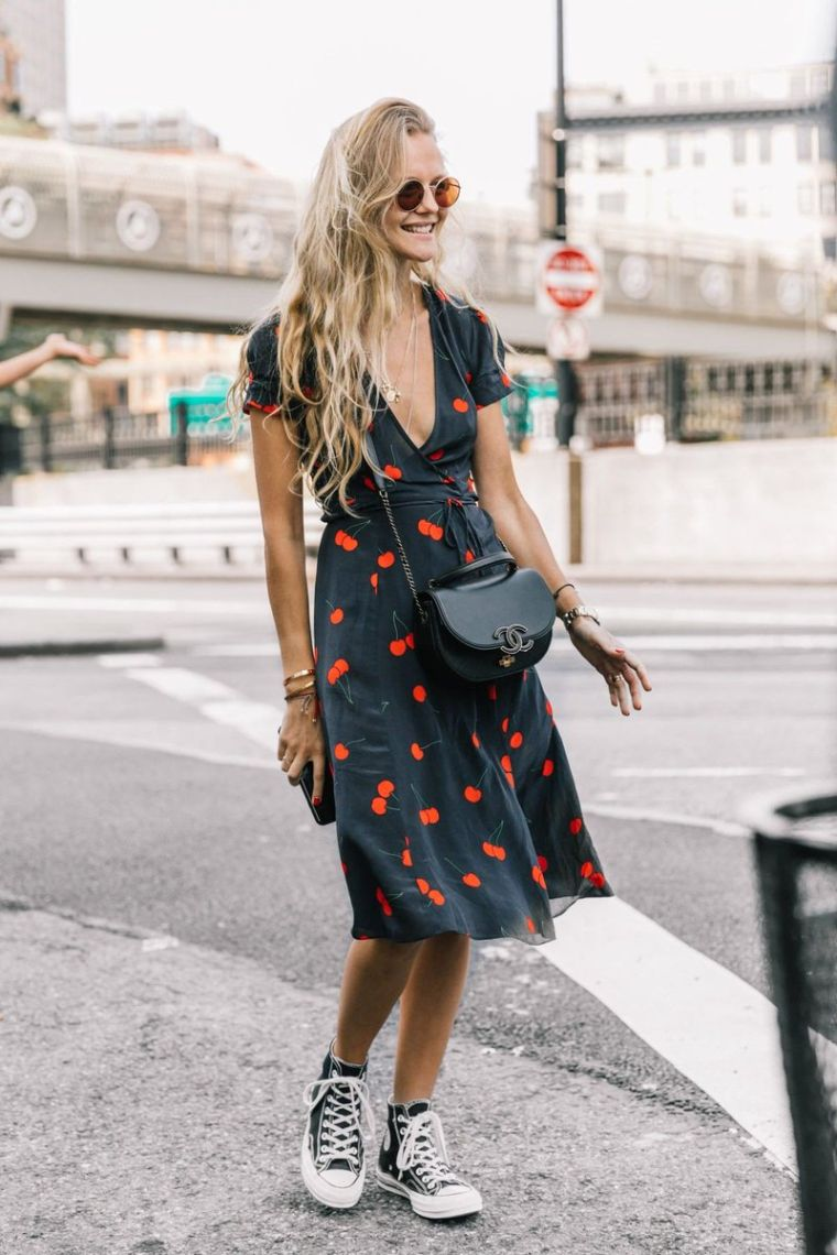 printed dress with sneakers