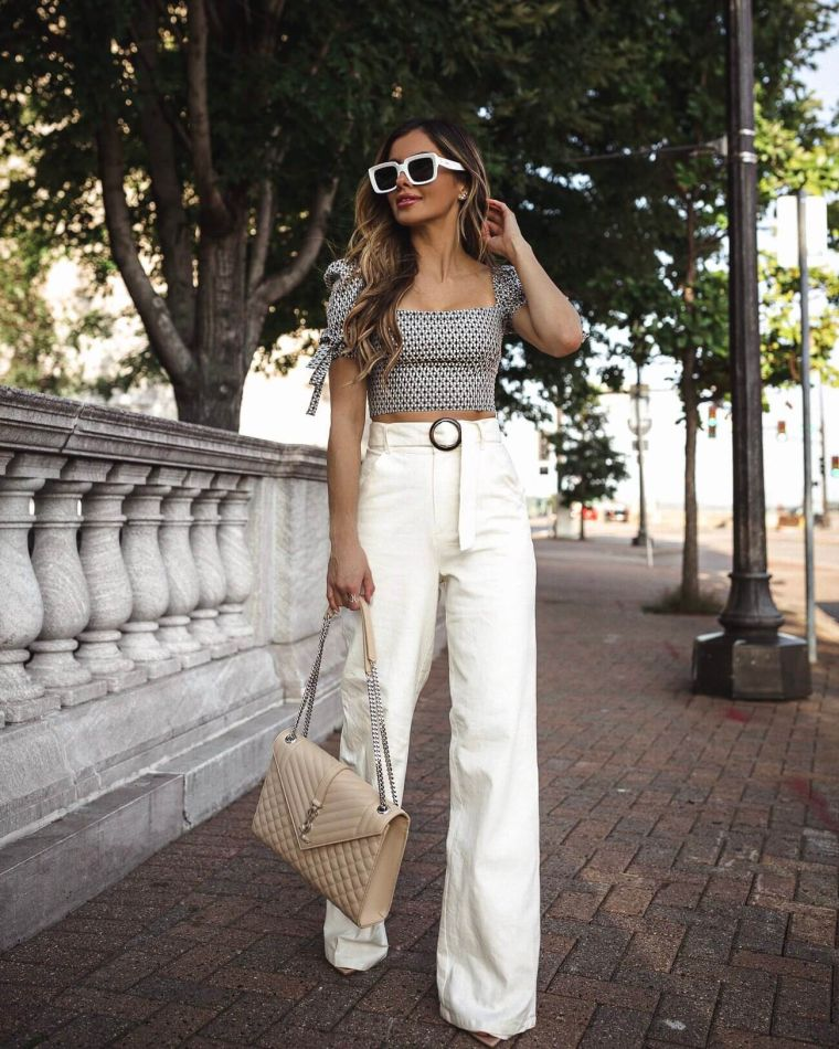 woman summer clothes with linen pants