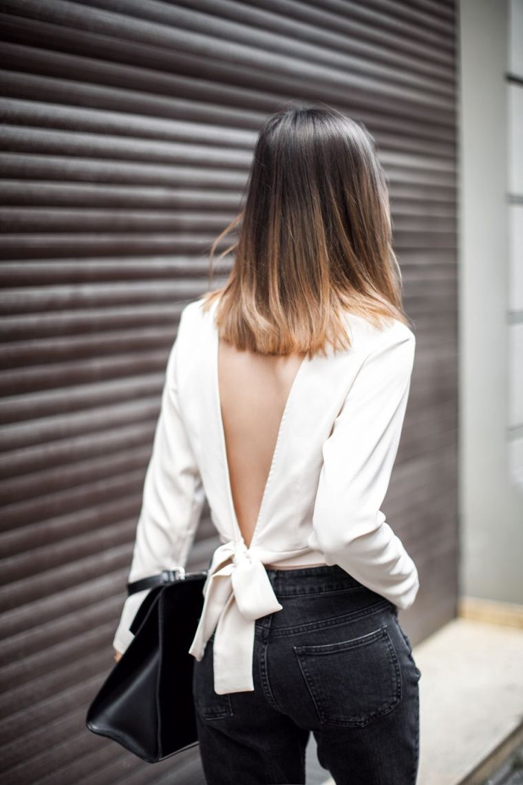 modern open back blouse
