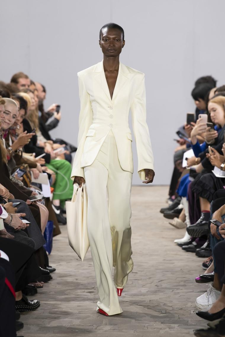 trendy white woman suit