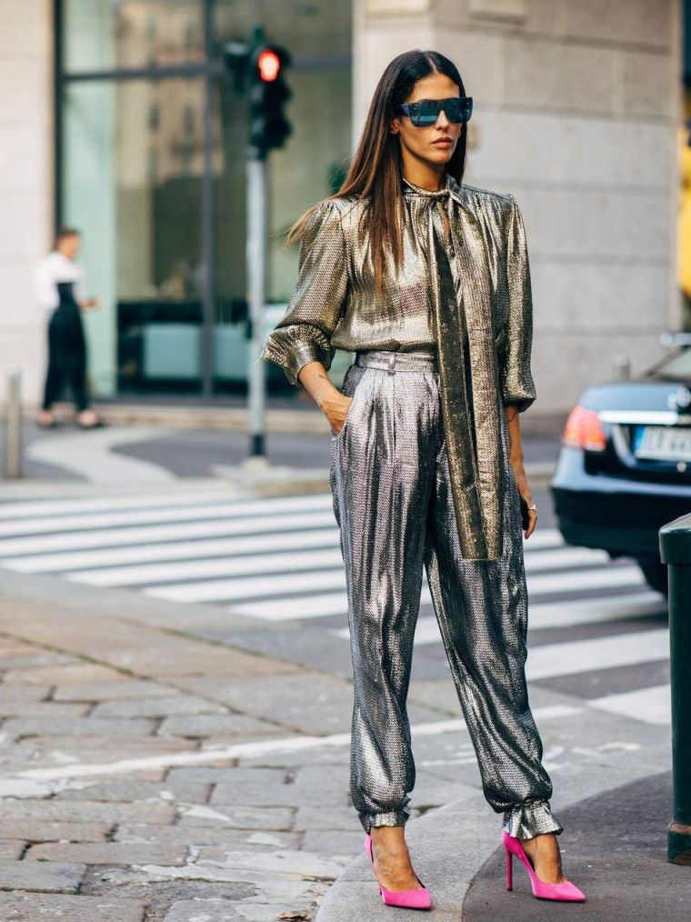 metallic fall outfit