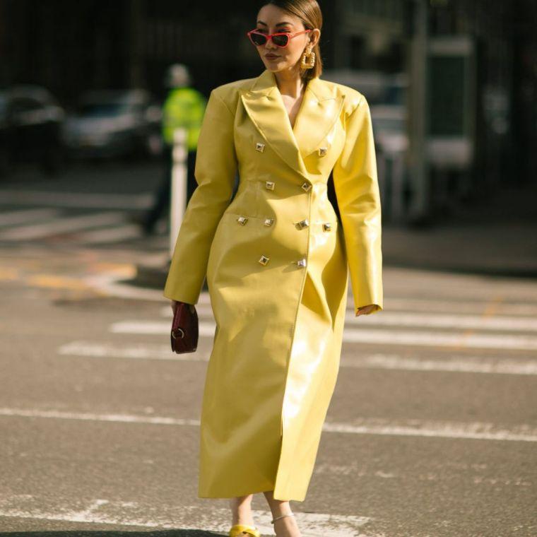 trendy yellow leather coats