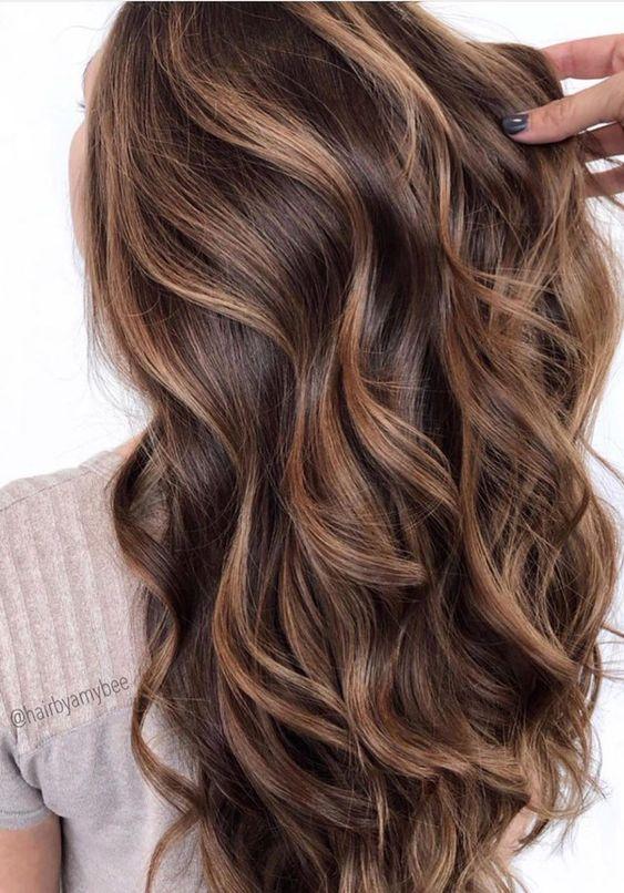 beige highlights on chocolate hair