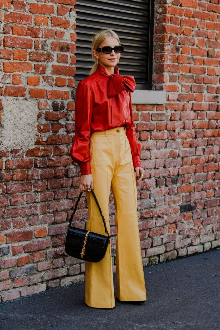 yellow leather pants
