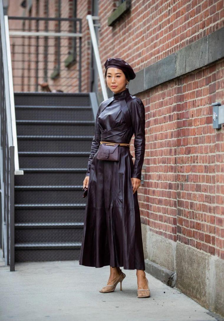 voluminous shoulder leather dress