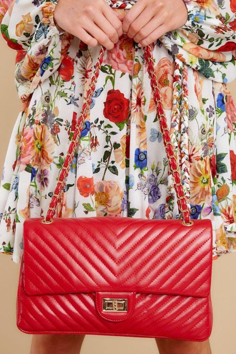 floral print dress with handbag