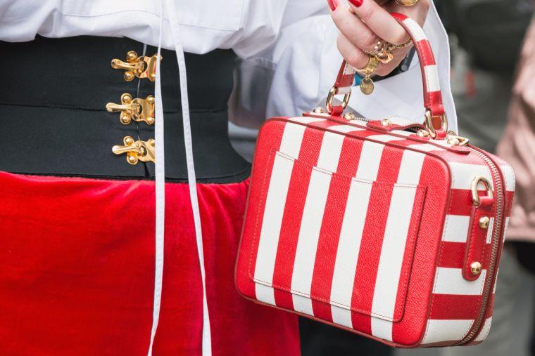 elegant striped handbag