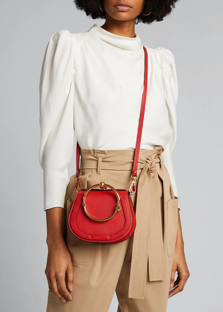 trendy red handbag chloé