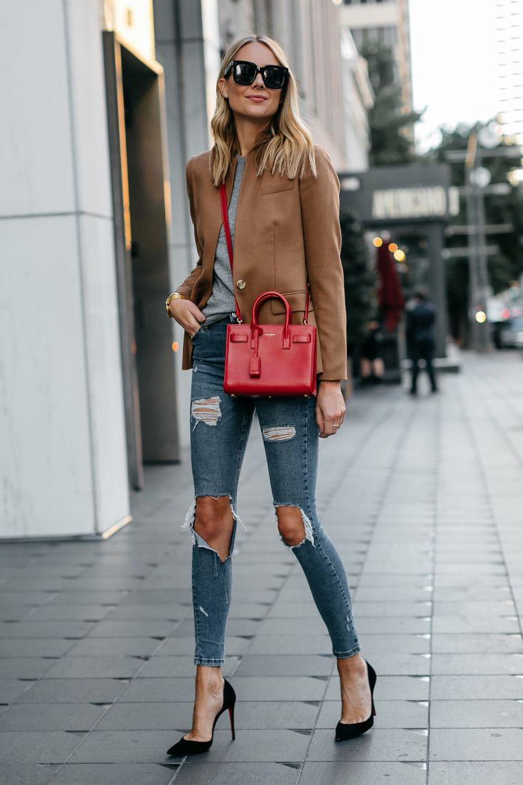 modern trendy red handbag