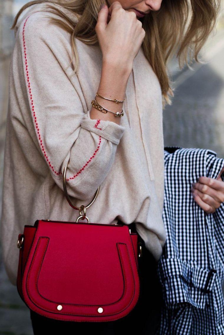 trendy red handbag