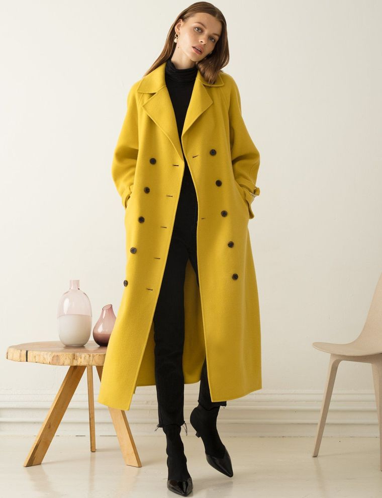 fall fashion trends 2020 with yellow leather coat