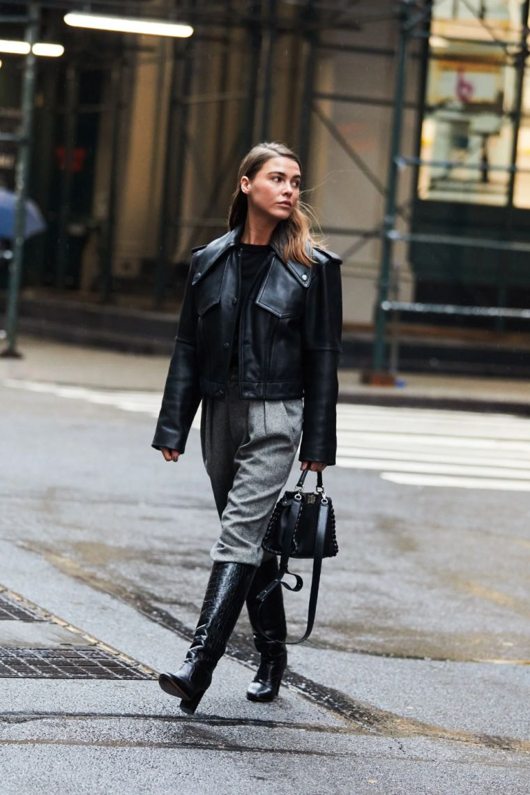 jacket with leather boots for autumn