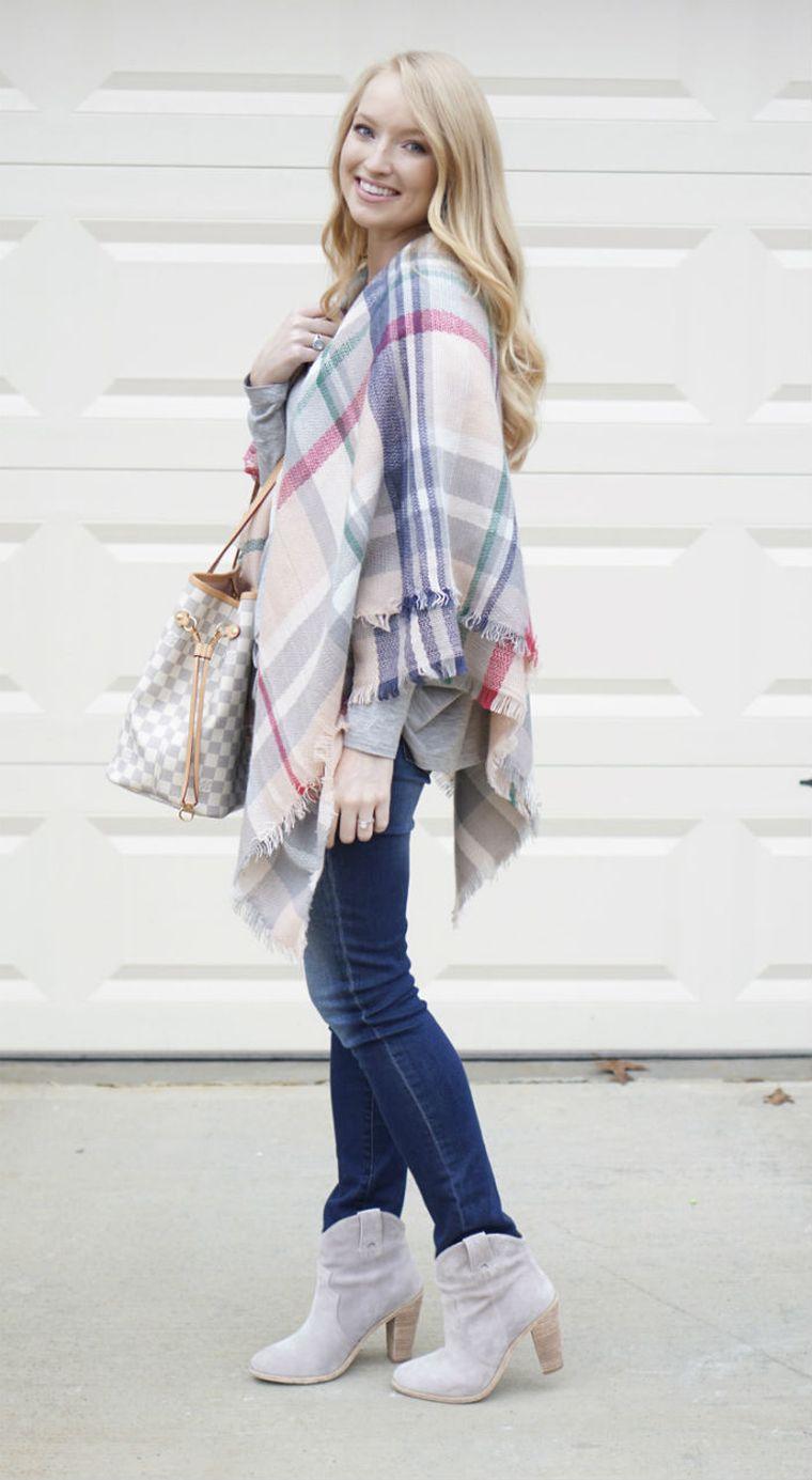 écharpe-couverture à carreaux