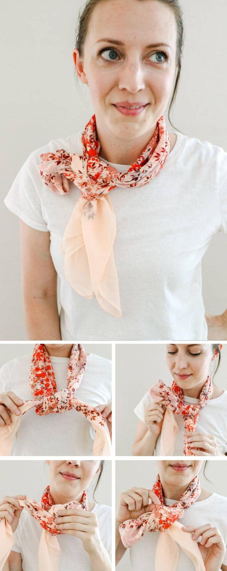 écharpe nouée arc latéral simple