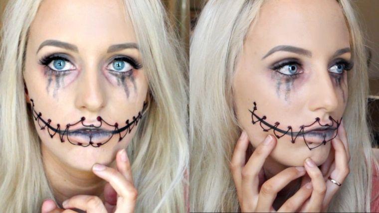 maquillage Halloween visage avec bouche cousue